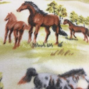 Horse Fleece Sherpa Blanket